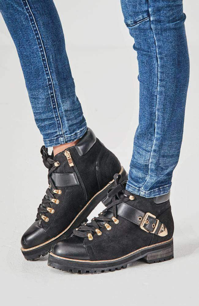 brooklyn black faux suede gold buckle ankle boot