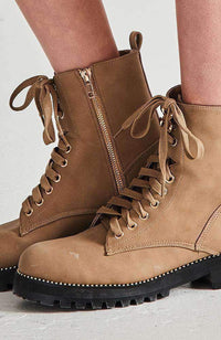 parisian chunkly studded gold zip ankle boot