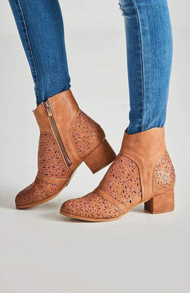 sunset valley tan cut out ankle boot