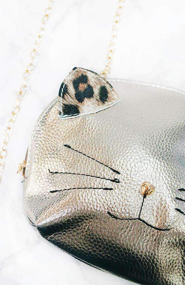 leopard kitten gold chain strap party bag