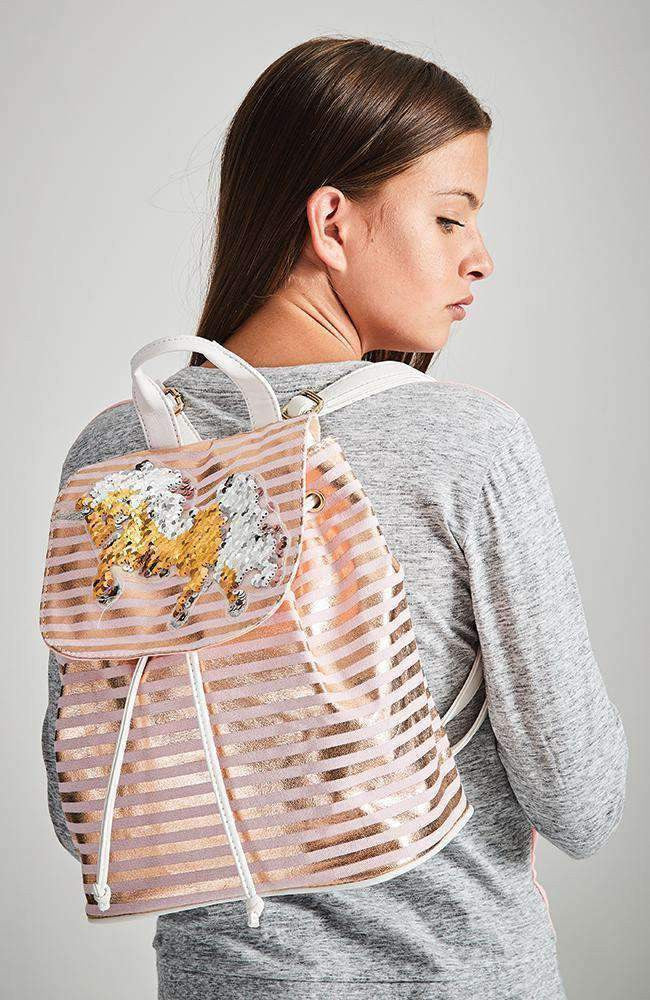 unicorn stripes pink sequin backpack