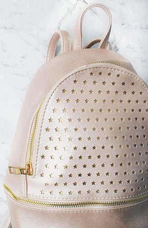 sports stars laser cut metallic pink party backpack