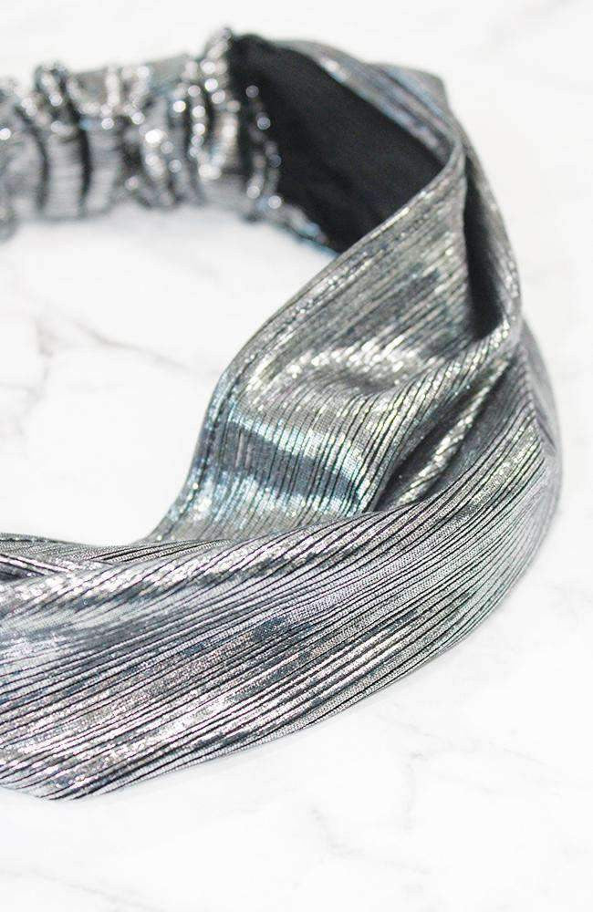 metallic dark silver stretch headband