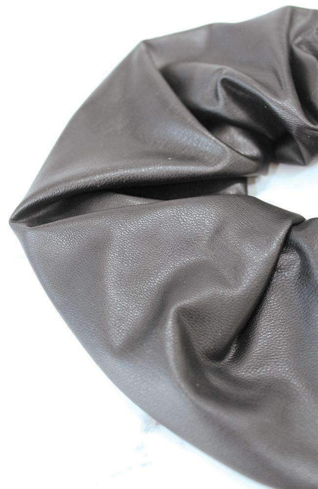 leather look black scrunchie