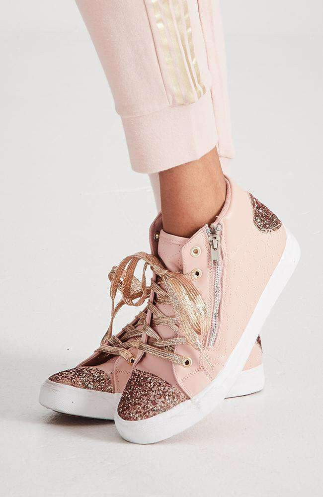 icon glitter high top zip sneaker