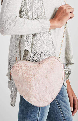 fluffy pink heart chain strap bag