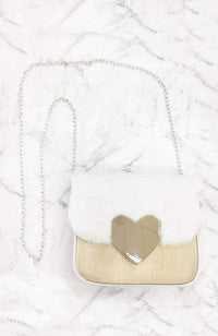 fluffy gold heart bag