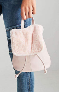 emma fluffy fur pastel mini backpack