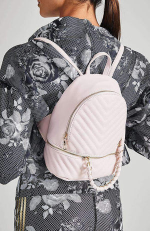 chevron quilted chain pastel vegan leather mini backpack