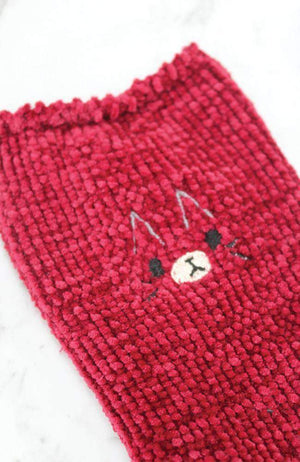 chenille embroidered cosy knit winter socks