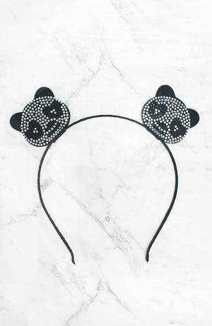 panda black & silver diamante headband