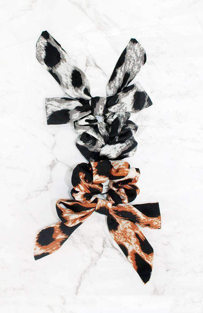 leopard bow scrunchie set
