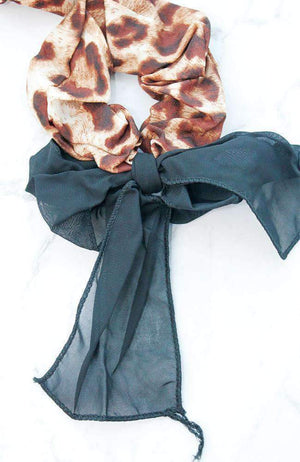 animal print black bow scrunchie set