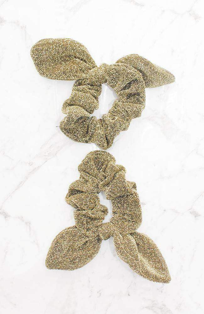 gold lurex tie double scrunchie set
