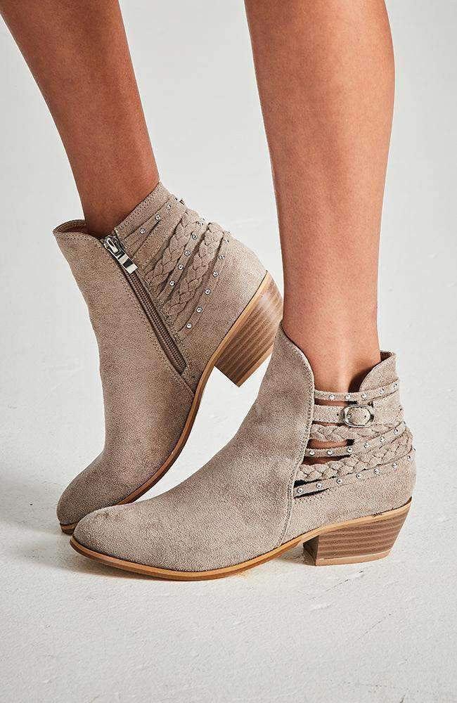 grace beige studded braided boho ankle boot