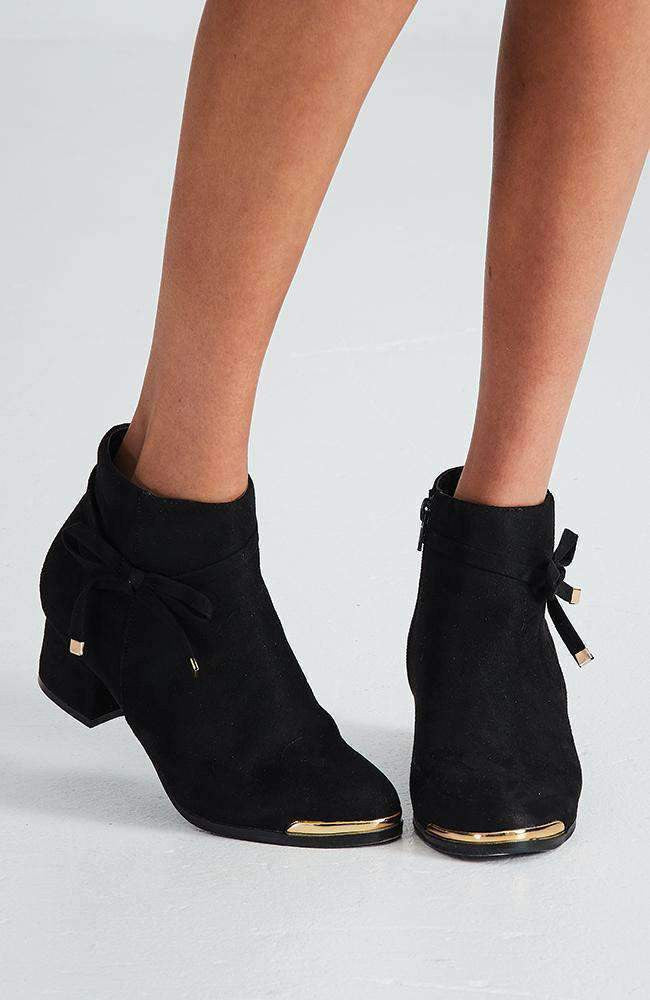 bella bow black faux suede ankle boot