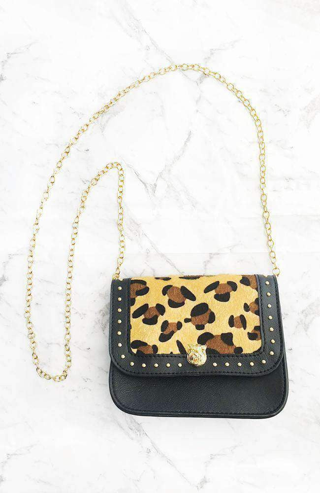animal print leopard gold stud mini bag