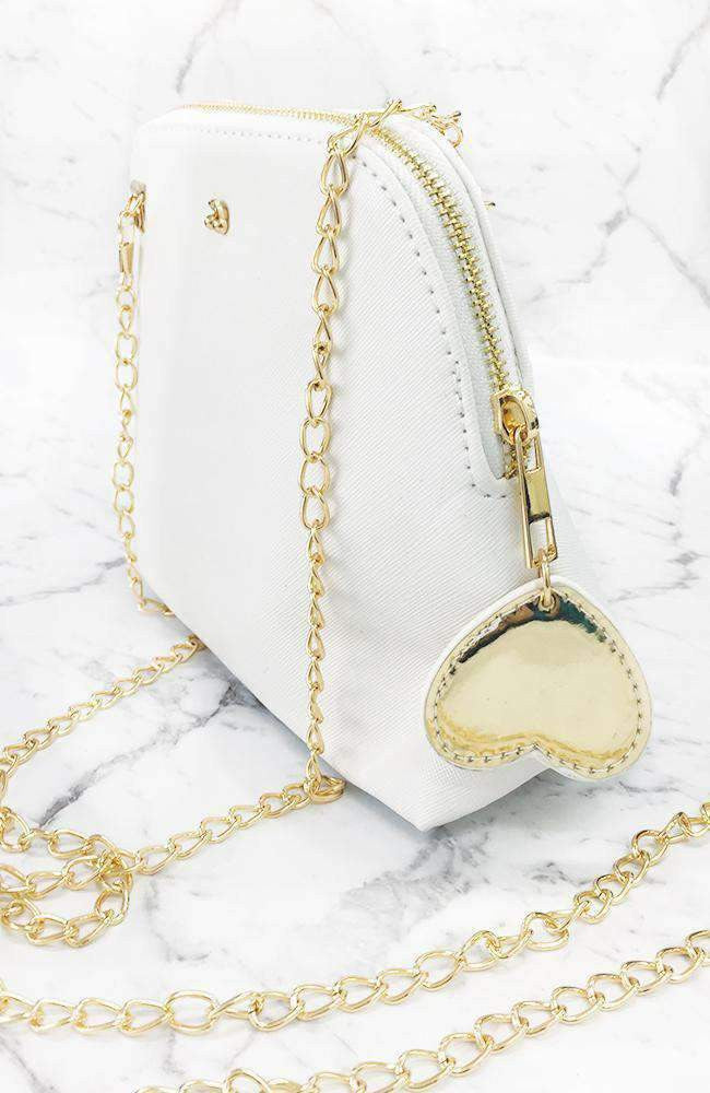 patent heart metallic chain strap party bag