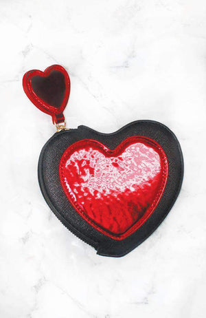 patent heart zip coin purse