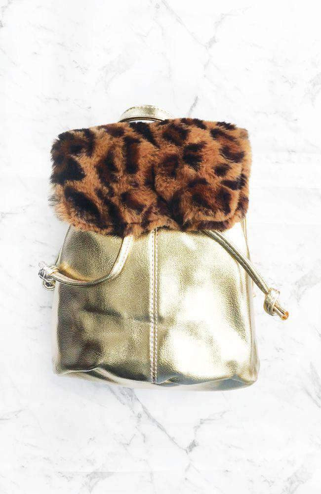leopard faux fur gold mini backpack