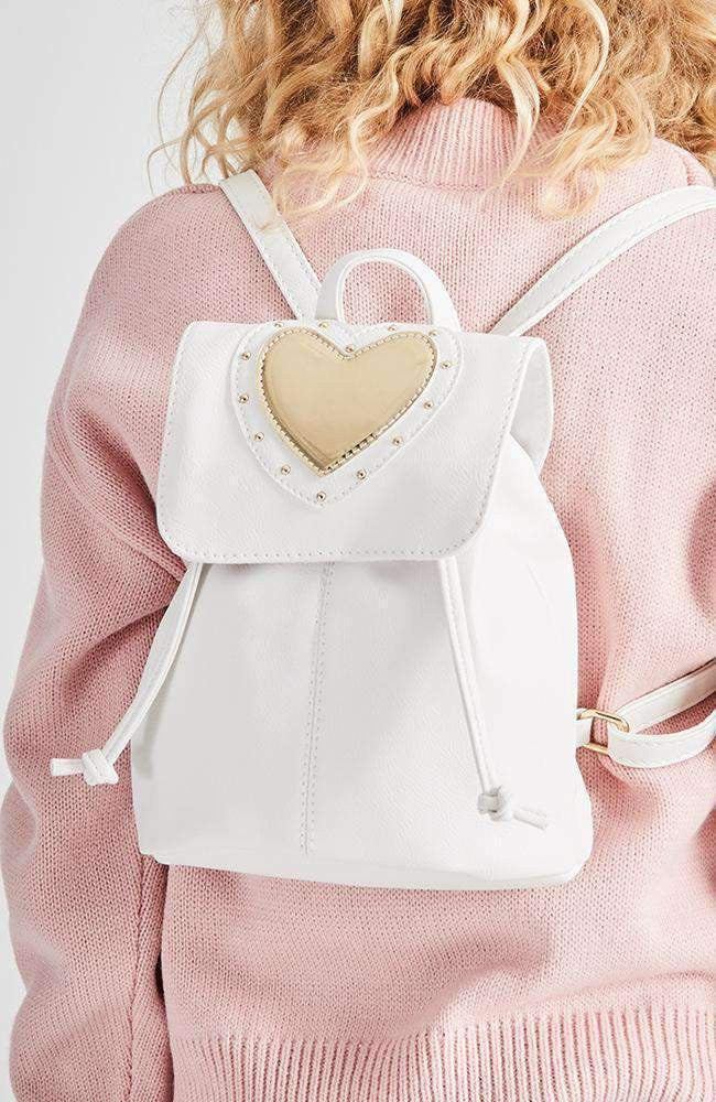 patent heart gold studded mini backpack