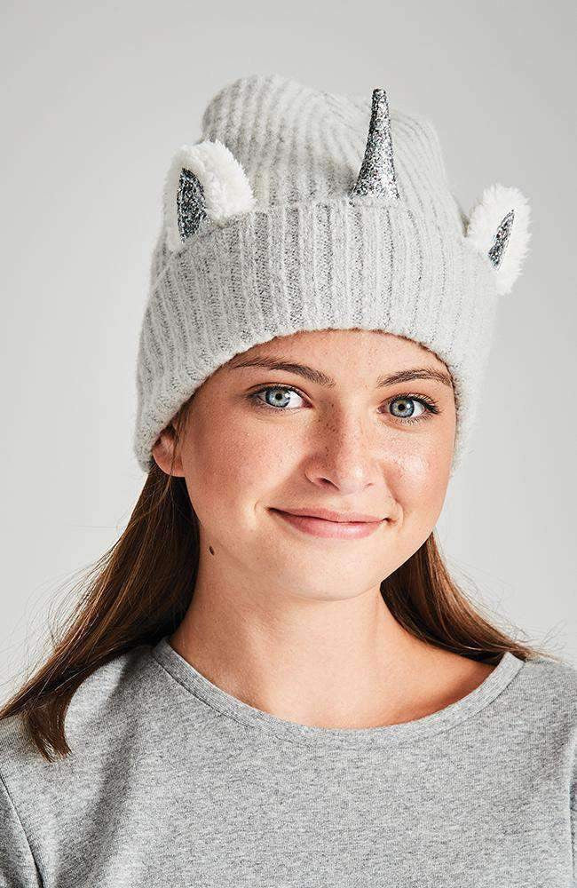 fluffy grey & white metallic unicorn beanie