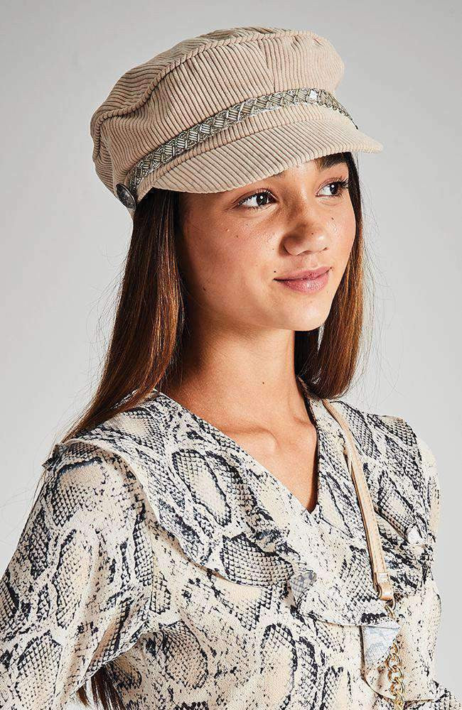 cambridge cream corduroy braided hat