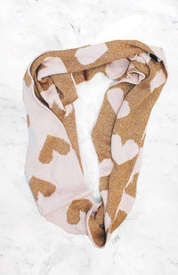 pink & gold hearts reversible snood