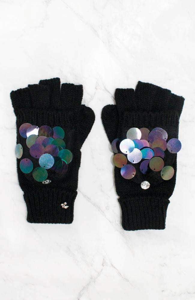 opal shimmer black sequin gloves