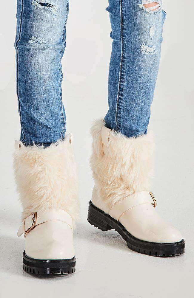 moscow cream faux fur buckle snow boot