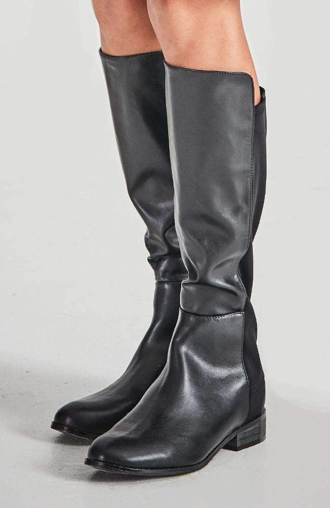 taylor black faux leather elastic tall knee boot
