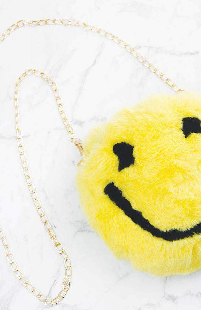 happy yellow faux fur emoji bag