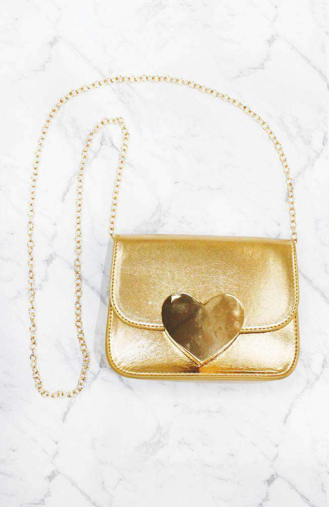 gold heart chain strap party bag
