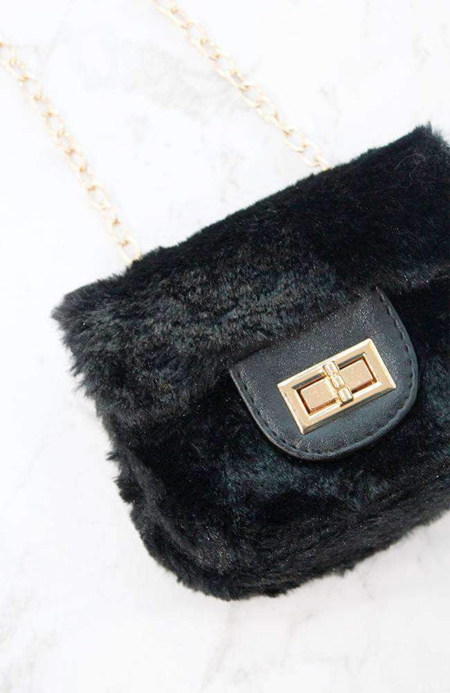 mini fluffy faux fur gold clasp bag