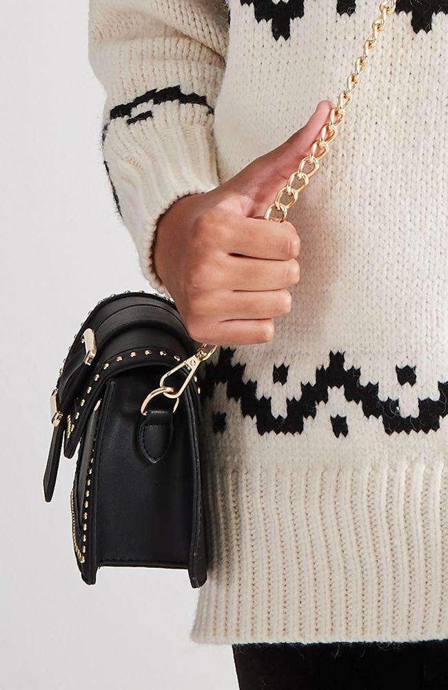 gold studded buckle vegan leather crossbody chain bag
