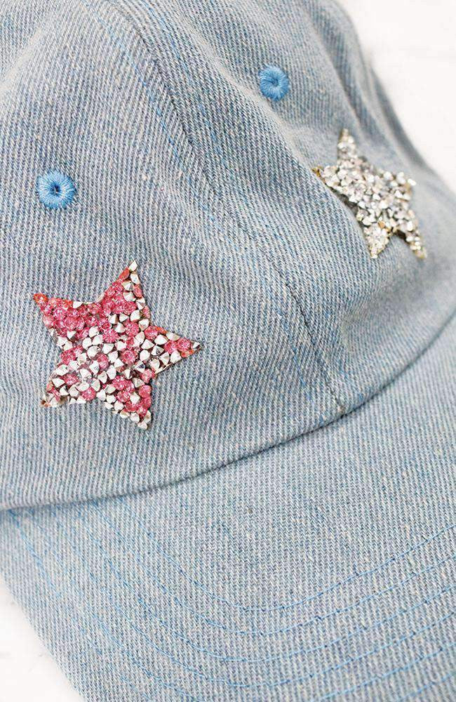 diamond stars light blue denm cap