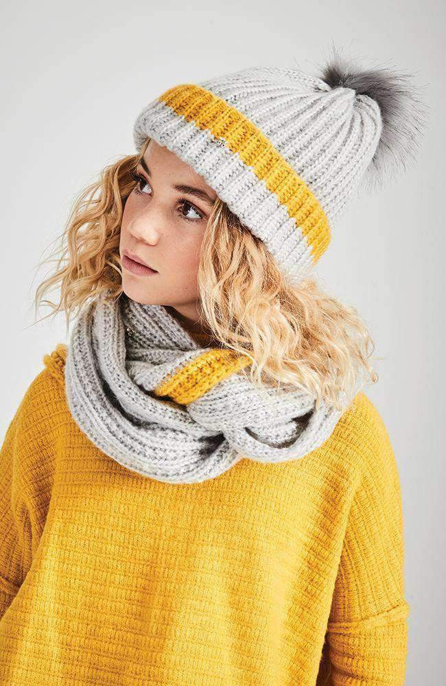 sunlight stripe grey & yellow knit beanie
