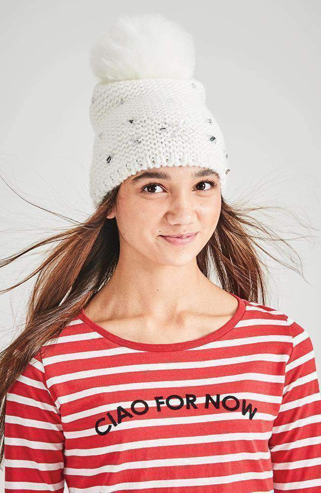 jewel diamante white pom pom beanie