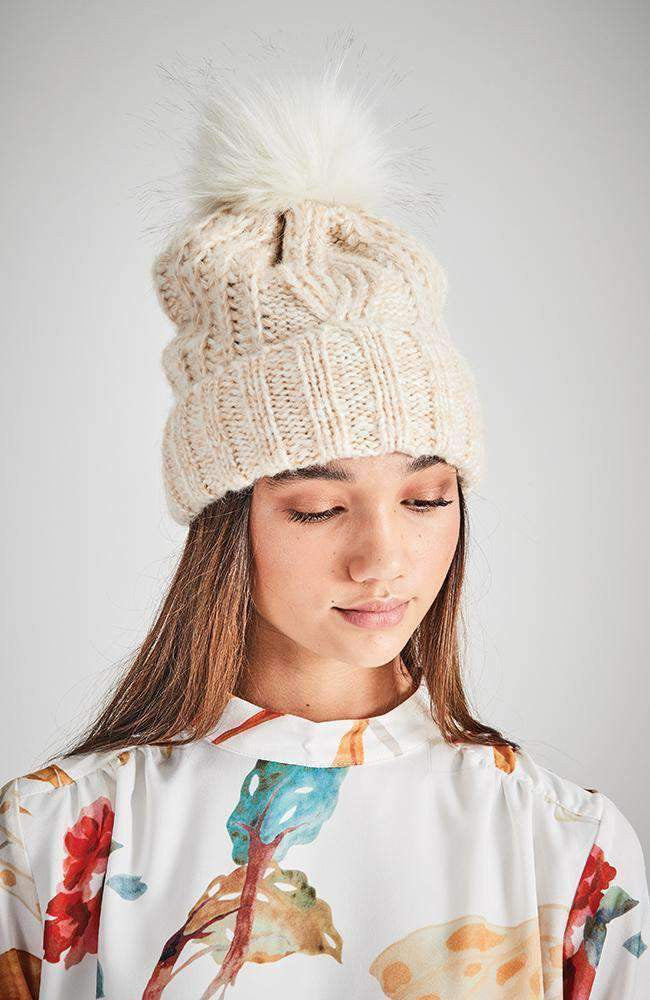 lake clair cable knit pom pom beanie