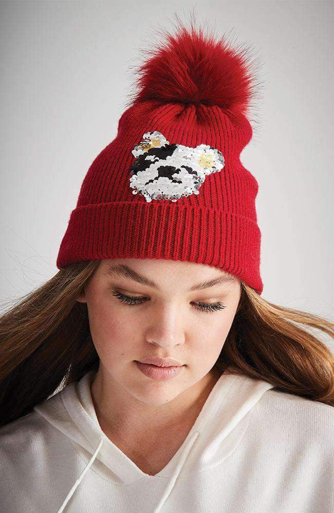 sequin puppy red pom pom beanie