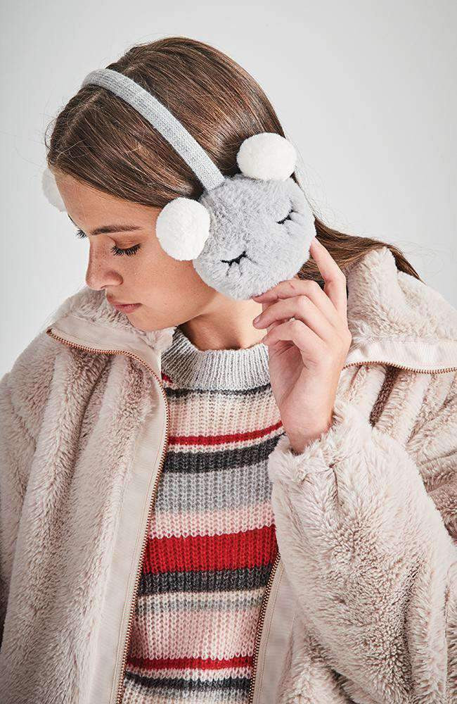 shimmer bear grey & white pom pom earmuffs