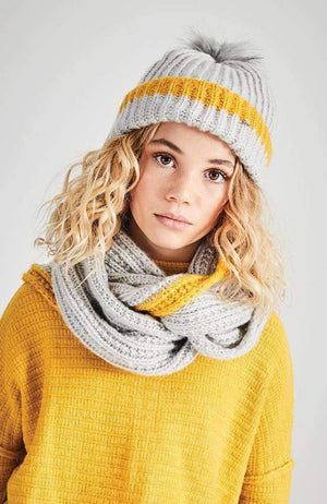 sunlight stripe grey & yellow knit snood