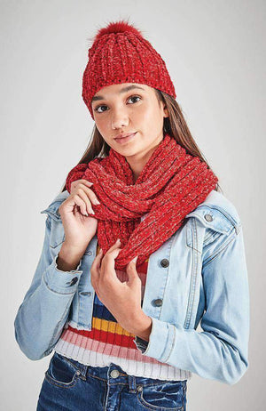 chenille red loop snood