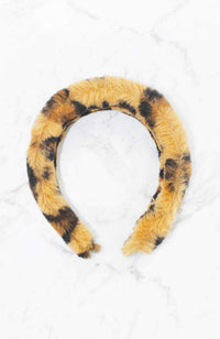 leopard furry headband