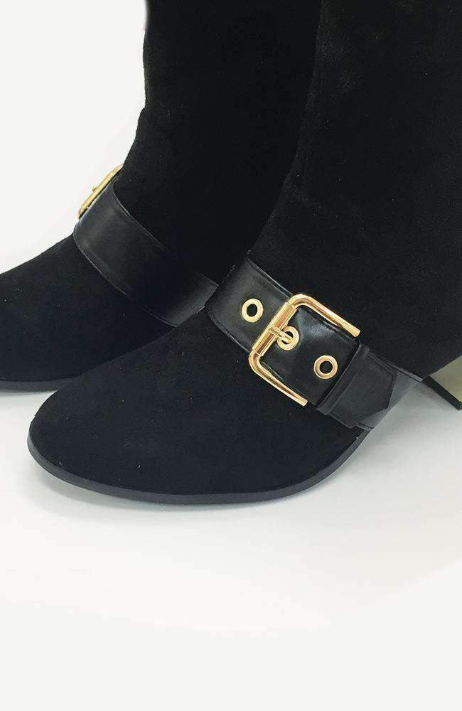 chicago black faux suede gold buckle ankle boot