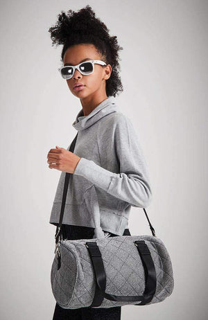 shimmer silver metallic quilted duffle bag