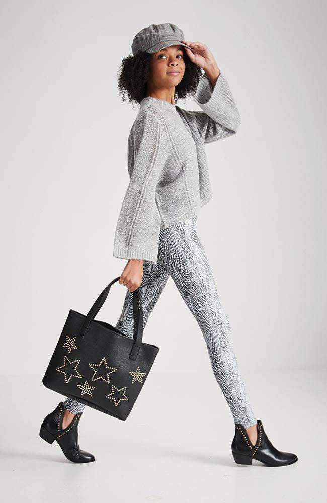 studded stars metallic tote bag