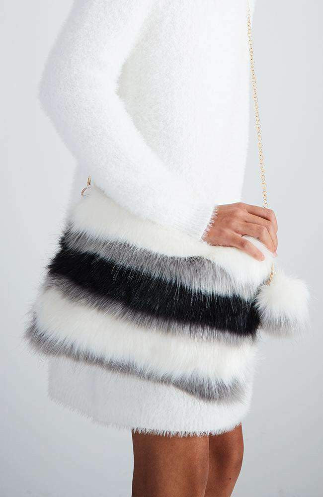 fluffy faux fur white stripe bag