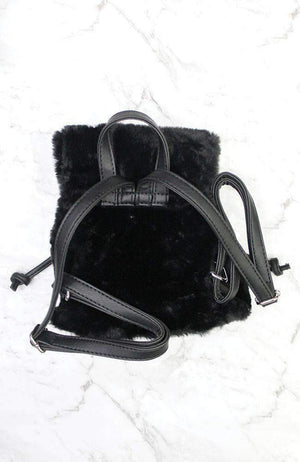 velvet black faux fur mini backpack