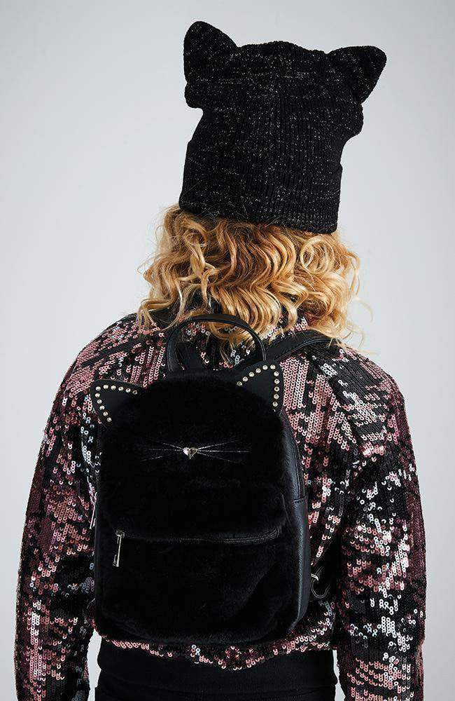 sequin cat studded faux fur backpack